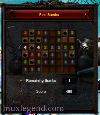 Find bombs mu online mini game